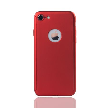 Apple iPhone 8 Handy-Hülle Schutz-Case Full-Cover Panzer Schutz Glas Rot – Bild 2