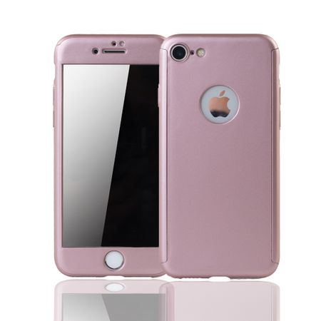 Apple iPhone 8 Handy-Hülle Schutz-Case Full-Cover Panzer Schutz Glas Rose