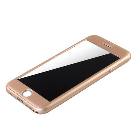 Apple iPhone 8 Handy-Hülle Schutz-Case Full-Cover Panzer Schutz Glas Gold – Bild 4