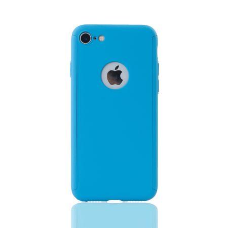 Apple iPhone 8 Handy-Hülle Schutz-Case Full-Cover Panzer Schutz Glas Hellblau – Bild 2