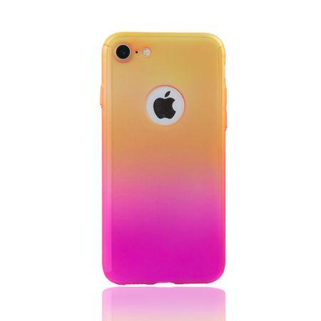 Apple iPhone 8 Handy-Hülle Schutz-Case Full-Cover Panzer Schutz Glas Gelb / Pink – Bild 2