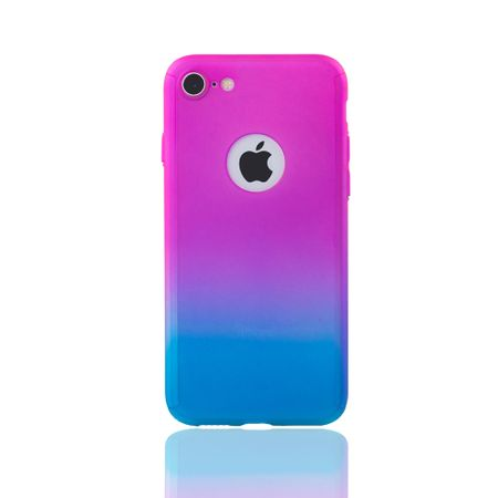 Apple iPhone 8 Handy-Hülle Schutz-Case Full-Cover Panzer Schutz Glas Pink / Blau – Bild 2
