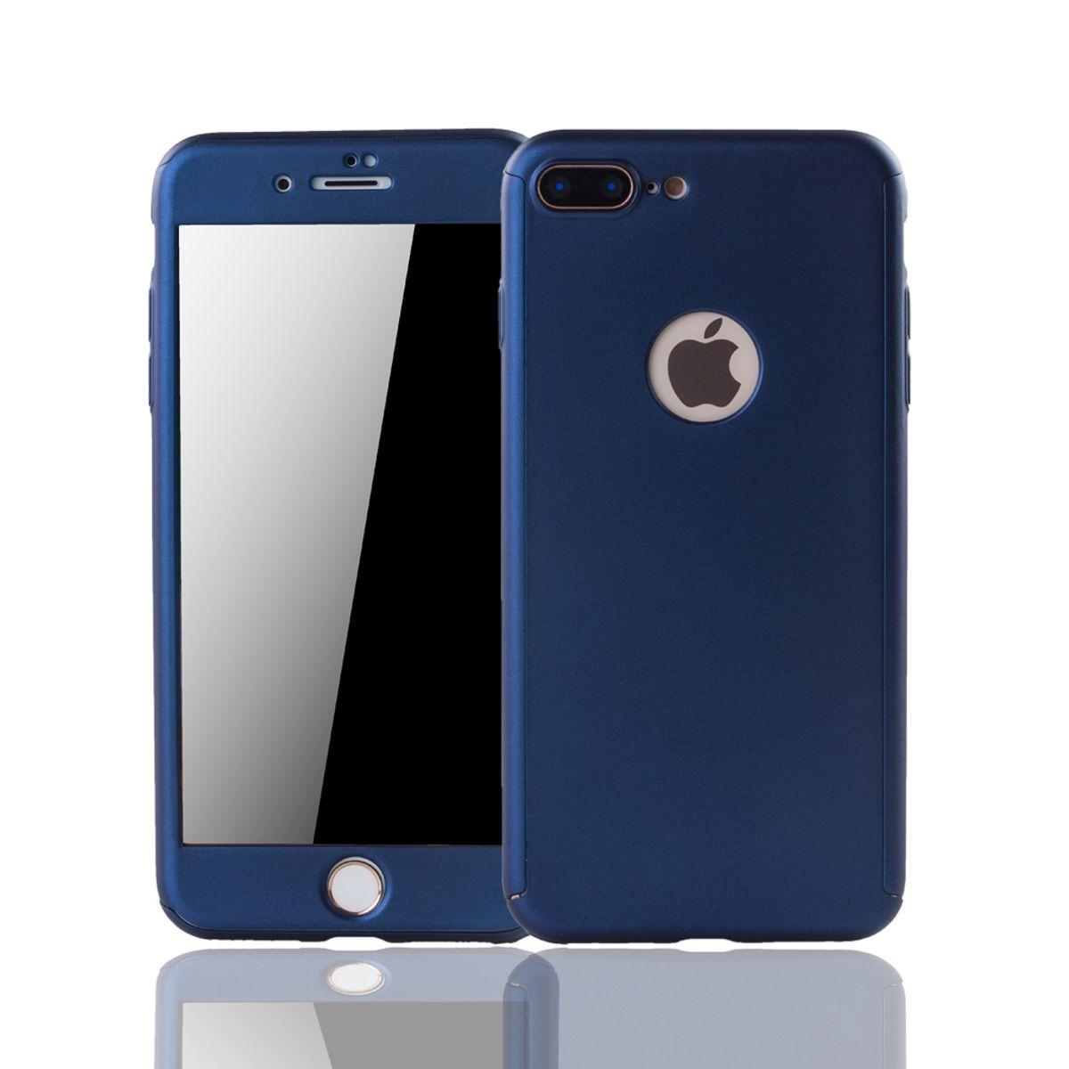 apple iphone 8 plus handy h lle schutz case full cover panzer schutz glas blau. Black Bedroom Furniture Sets. Home Design Ideas