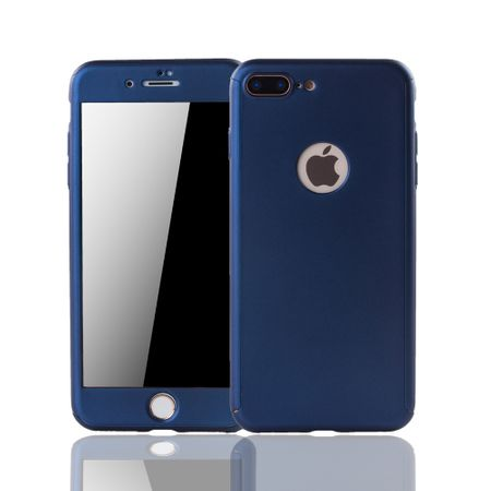 Apple iPhone 8 Plus Handy-Hülle Schutz-Case Full-Cover Panzer Schutz Glas Blau