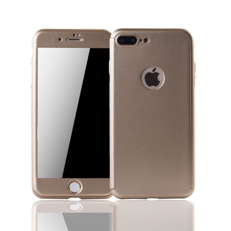 Apple iPhone 8 Plus Handy-Hülle Schutz-Case Full-Cover Panzer Schutz Glas Gold