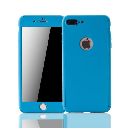 Apple iPhone 8 Plus Handy-Hülle Schutz-Case Cover Panzer Schutz Glas Hellblau