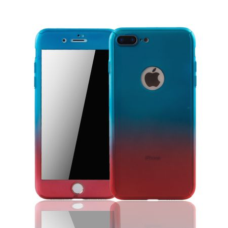 Apple iPhone 8 Plus Handy-Hülle Schutz-Case Cover Panzer Schutz Glas Blau / Rot