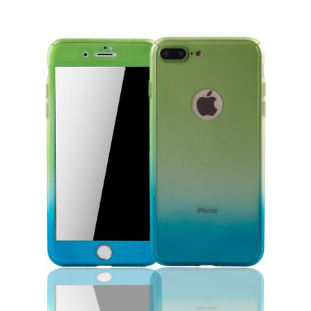 Apple iPhone 8 Plus Handy-Hülle Schutz-Case Cover Panzer Schutz Glas Grün / Blau