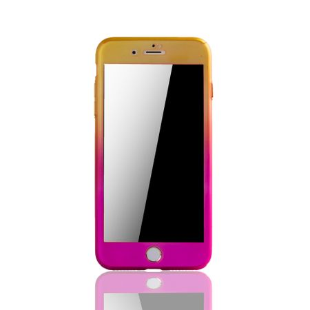 Apple iPhone 8 Plus Handy-Hülle Schutz-Case Cover Panzer Schutz Glas Gelb / Pink – Bild 3