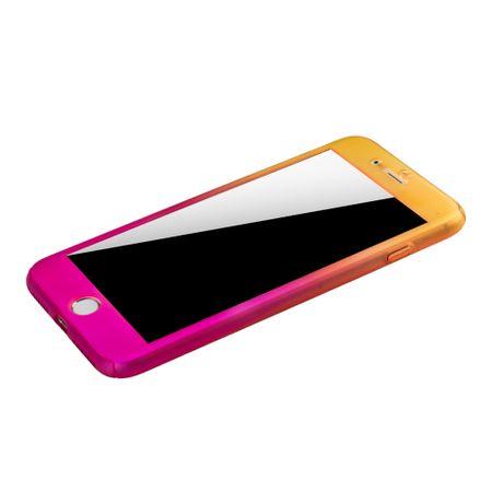 Apple iPhone 8 Plus Handy-Hülle Schutz-Case Cover Panzer Schutz Glas Gelb / Pink – Bild 4