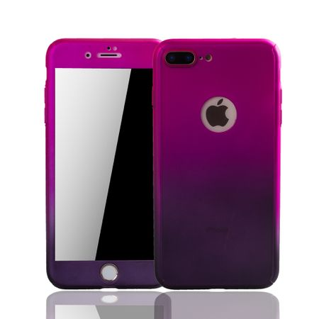 Apple iPhone 8 Plus Handy-Hülle Schutz-Case Panzer Schutz Glas Pink / Violett