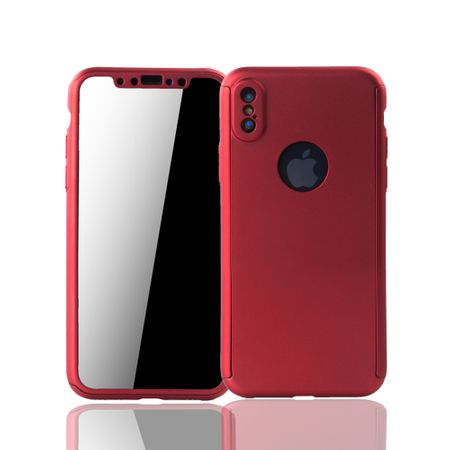 Apple iPhone X Handy-Hülle Schutz-Case Full-Cover Panzer Schutz Glas Rot