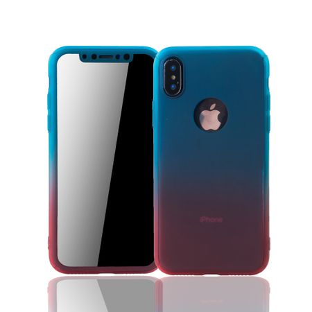 Apple iPhone X Handy-Hülle Schutz-Case Full-Cover Panzer Schutz Glas Blau / Rot