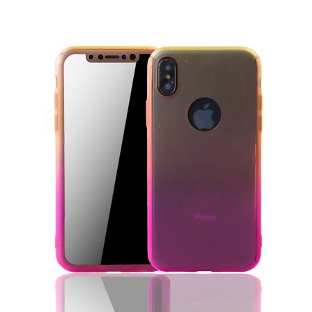 Apple iPhone X Handy-Hülle Schutz-Case Full-Cover Panzer Schutz Glas Gelb / Pink