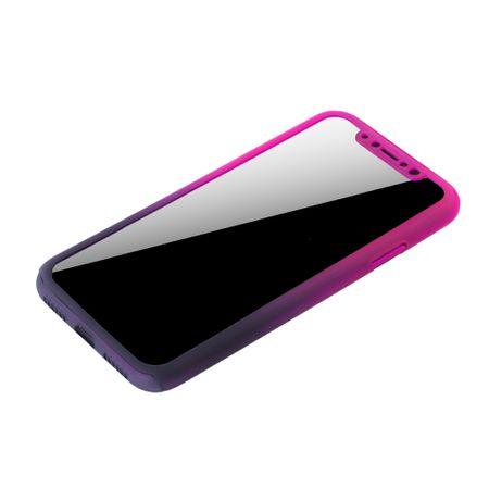 Apple iPhone X Handy-Hülle Schutz-Case Cover Panzer Schutz Glas Pink / Violett – Bild 4