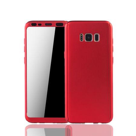Samsung Galaxy S8 Handyhülle Schutzcase Full Cover 360 Displayschutz Folie Rot