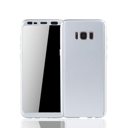 Samsung Galaxy S8 Handyhülle Schutzcase Full Cover 360 Displayschutz Folie Silber