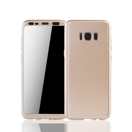 Samsung Galaxy S8 Handyhülle Schutzcase Full Cover 360 Displayschutz Folie Gold