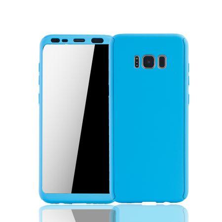 Samsung Galaxy S8 Plus Handyhülle Schutzcase Full Cover 360 Displayschutz Folie Hellblau