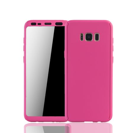 Samsung Galaxy S8 Plus Handyhülle Schutzcase Full Cover 360 Displayschutz Folie Pink
