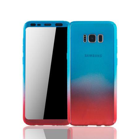Samsung Galaxy S8 Plus Handyhülle Schutzcase Full Cover 360 Displayschutz Folie Blau / Rot