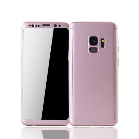Samsung Galaxy S9 Handyhülle Schutzcase Full Cover 360 Displayschutz Folie Rose