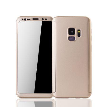 Samsung Galaxy S9 Handyhülle Schutzcase Full Cover 360 Displayschutz Folie Gold