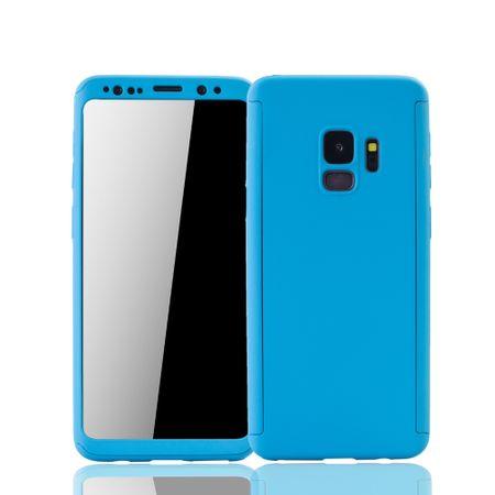 Samsung Galaxy S9 Handyhülle Schutzcase Full Cover 360 Displayschutz Folie Hellblau