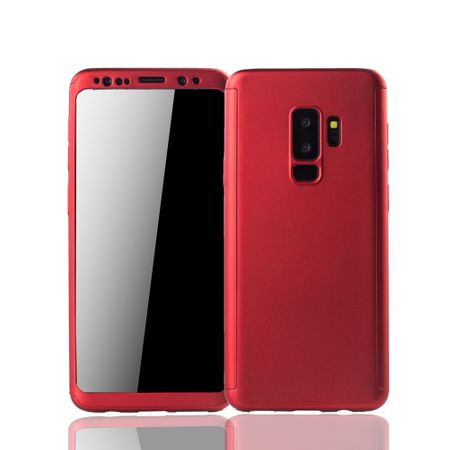 Samsung Galaxy S9 Plus Handyhülle Schutzcase Full Cover 360 Displayschutz Folie Rot