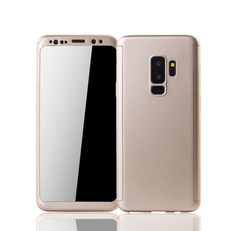 Samsung Galaxy S9 Plus Handyhülle Schutzcase Full Cover 360 Displayschutz Folie Gold