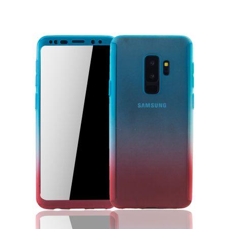 Samsung Galaxy S9 Plus Handyhülle Schutzcase Full Cover 360 Displayschutz Folie Blau / Rot