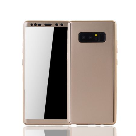 Samsung Galaxy Note 8 Handyhülle Schutzcase Full Cover 360 Displayschutz Folie Gold