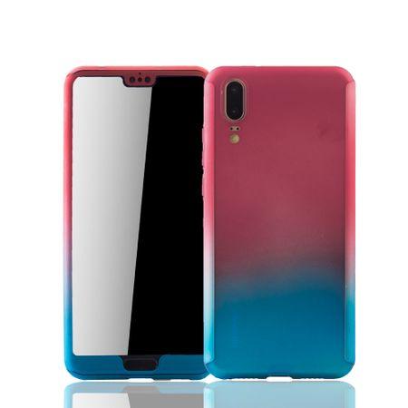 Huawei P20 Handy-Hülle Schutz-Case Full-Cover Panzer Schutz Glas Rot / Blau