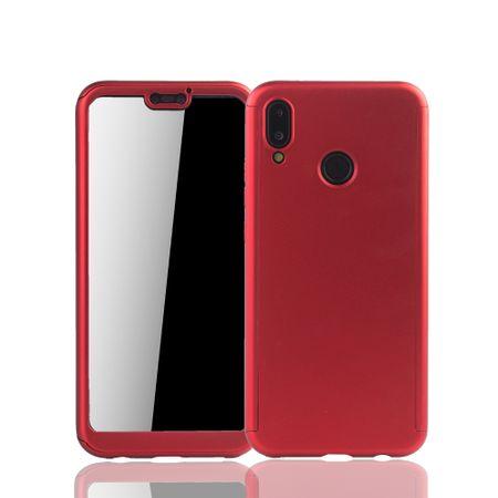 Huawei P20 Lite Handy-Hülle Schutz-Case Full-Cover Panzer Schutz Glas Rot