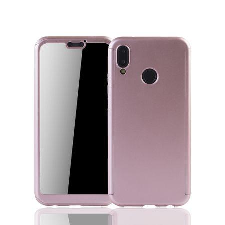 Huawei P20 Lite Handy-Hülle Schutz-Case Full-Cover Panzer Schutz Glas Rose