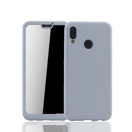 Huawei P20 Lite Handy-Hülle Schutz-Case Full-Cover Panzer Schutz Glas Grau