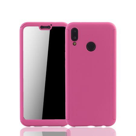 Huawei P20 Lite Handy-Hülle Schutz-Case Full-Cover Panzer Schutz Glas Pink