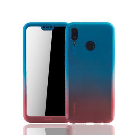 Huawei P20 Lite Handy-Hülle Schutz-Case Full-Cover Panzer Schutz Glas Blau / Rot