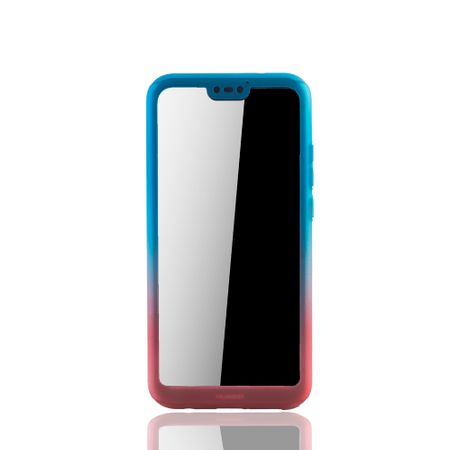 Huawei P20 Lite Handy-Hülle Schutz-Case Full-Cover Panzer Schutz Glas Blau / Rot – Bild 3