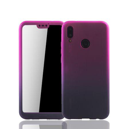 Huawei P20 Lite Handy-Hülle Schutz-Case Cover Panzer Schutz Glas Pink / Violett