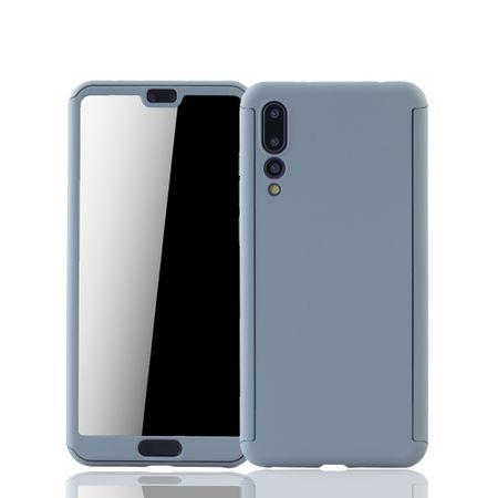 Huawei P20 Pro Handy-Hülle Schutz-Case Full-Cover Panzer Schutz Glas Grau