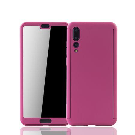 Huawei P20 Pro Handy-Hülle Schutz-Case Full-Cover Panzer Schutz Glas Pink