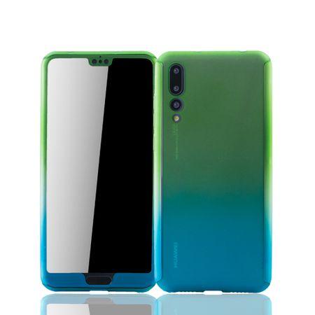 Huawei P20 Pro Handy-Hülle Schutz-Case Full-Cover Panzer Schutz Glas Grün / Blau