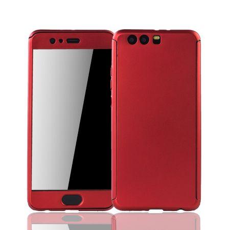 Huawei P10 Plus Handy-Hülle Schutz-Case Full-Cover Panzer Schutz Glas Rot – Bild 1