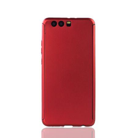 Huawei P10 Plus Handy-Hülle Schutz-Case Full-Cover Panzer Schutz Glas Rot – Bild 2