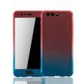Huawei P10 Plus Handy-Hülle Schutz-Case Full-Cover Panzer Schutz Glas Rot / Blau 001