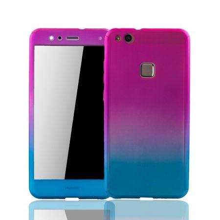 Huawei P10 Lite Handy-Hülle Schutz-Case Fullcover Panzer Schutz Glas Pink / Blau