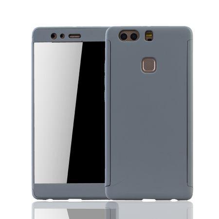 Huawei P9 Plus Handy-Hülle Schutz-Case Full-Cover Panzer Schutz Glas Grau