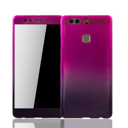 Huawei P9 Plus Handy-Hülle Schutz-Case Cover Panzer Schutz Glas Pink / Violett