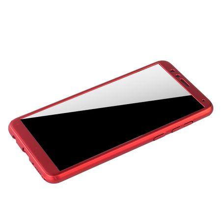 Huawei Honor 7X Handy-Hülle Schutz-Case Full-Cover Panzer Schutz Glas Rot – Bild 4